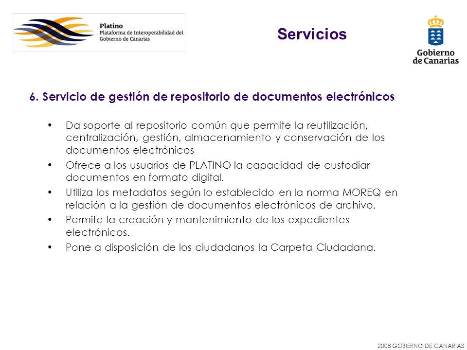 Servicios 6. Servicio de gestión de repositorio de documentos electrónicos.