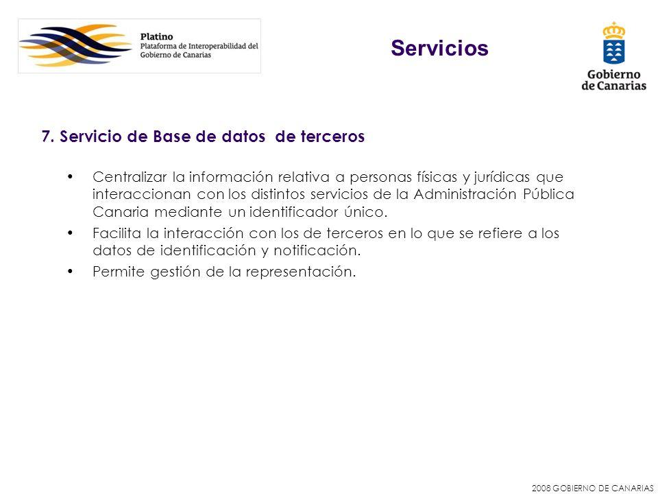 Servicios 7. Servicio de Base de datos de terceros