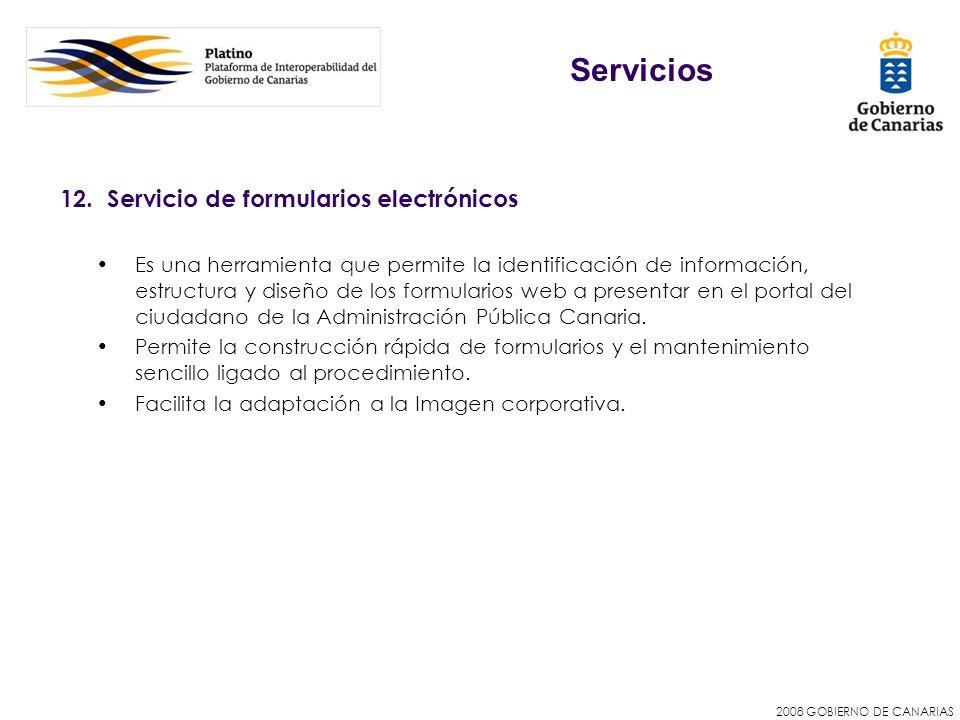 Servicios 12. Servicio de formularios electrónicos