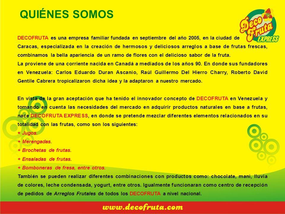 QUIÉNES SOMOS DECOFRUTA es una empresa familiar fundada en septiembre del año 2005, en la ciudad de.