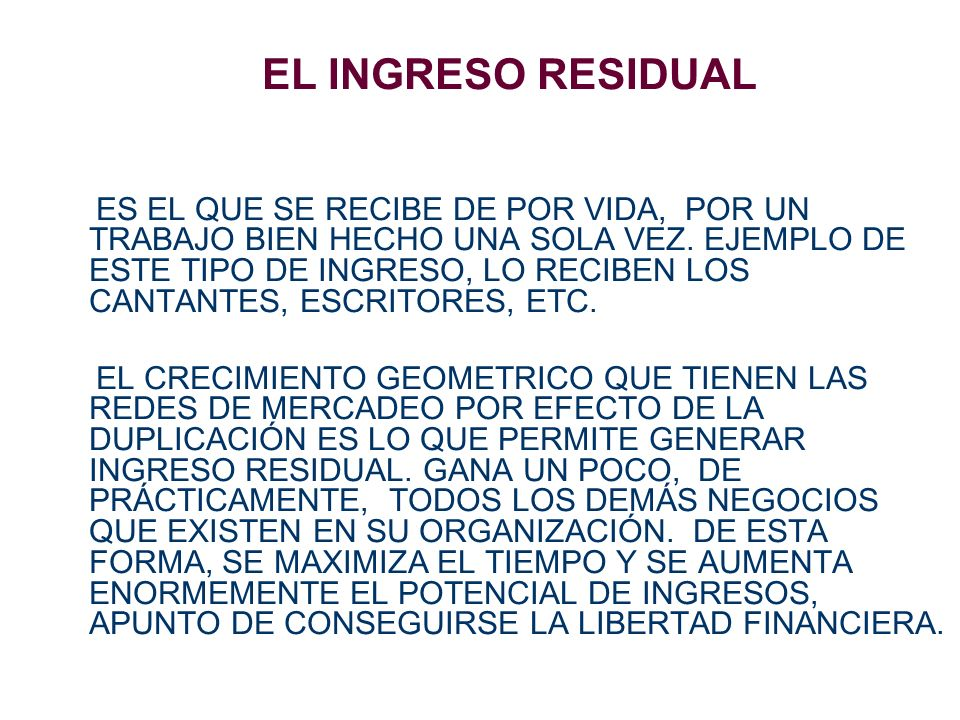 EL INGRESO RESIDUAL