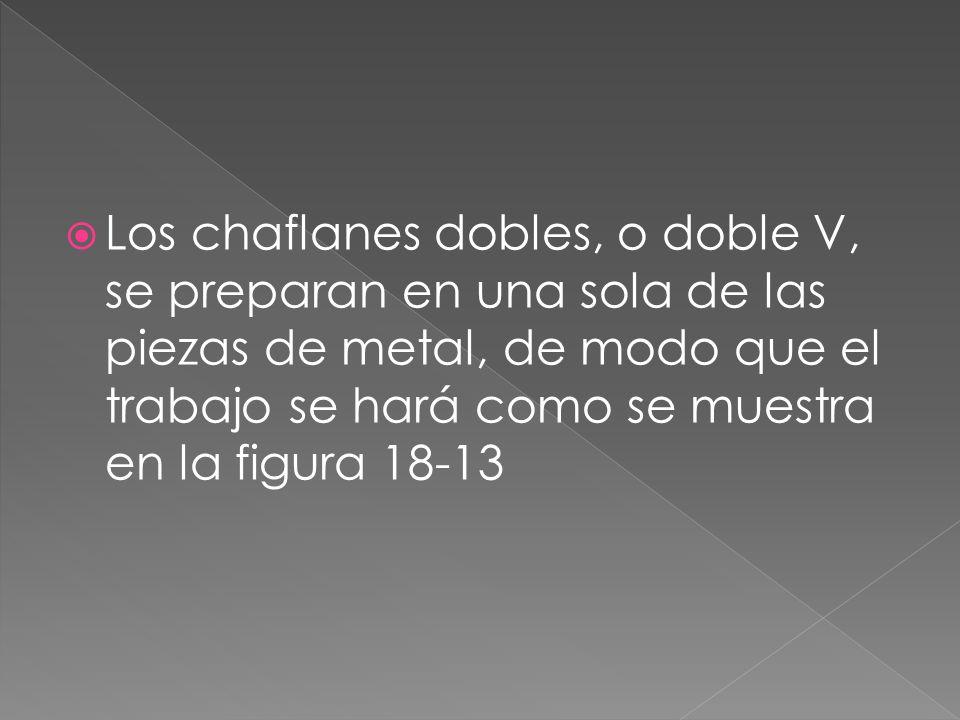 Los chaflanes dobles, o doble V, se preparan en una sola de las piezas de metal, de modo que el trabajo se hará como se muestra en la figura 18-13