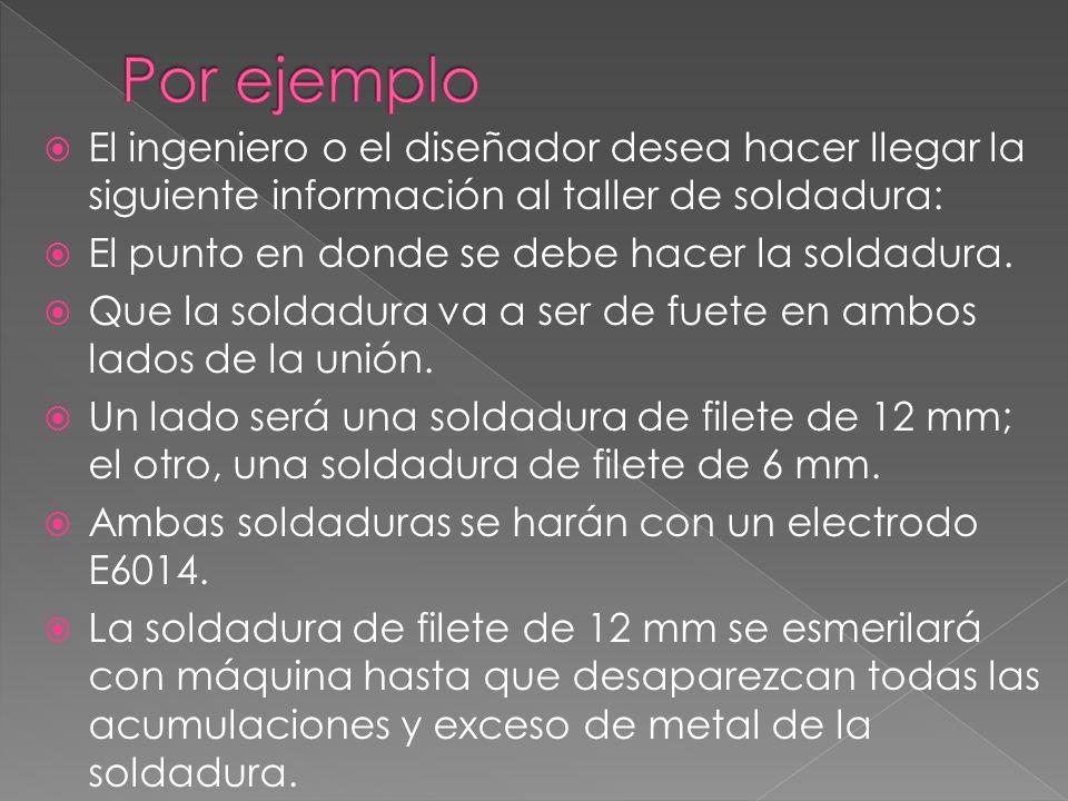 Por ejemplo El ingeniero o el diseñador desea hacer llegar la siguiente información al taller de soldadura: