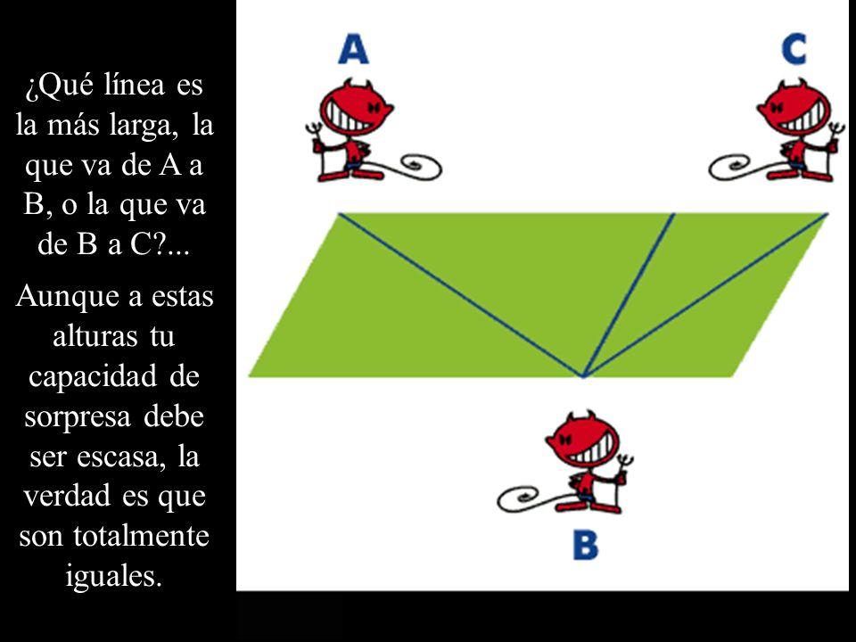 ¿Qué línea es la más larga, la que va de A a B, o la que va de B a C ...