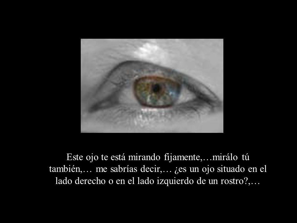 Este ojo te está mirando fijamente,…mirálo tú también,… me sabrías decir,… ¿es un ojo situado en el lado derecho o en el lado izquierdo de un rostro ,…