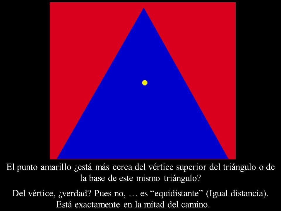 El punto amarillo ¿está más cerca del vértice superior del triángulo o de la base de este mismo triángulo