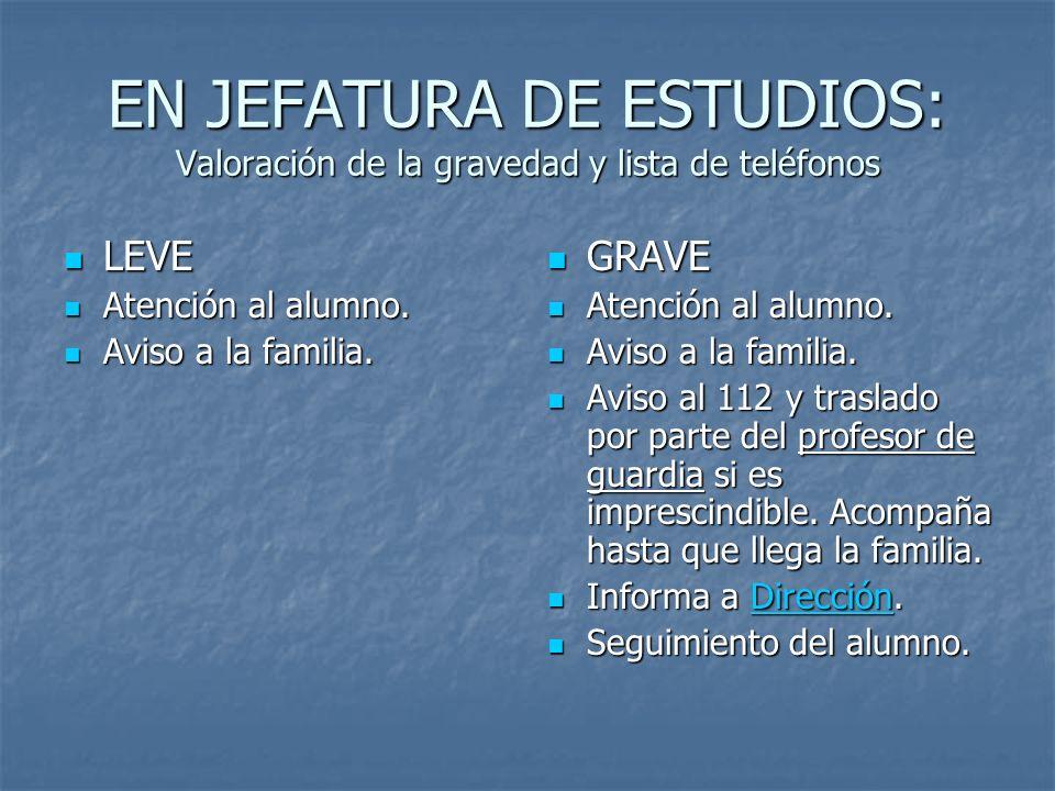 EN JEFATURA DE ESTUDIOS: Valoración de la gravedad y lista de teléfonos