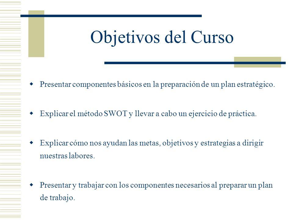 Objetivos del Curso Presentar componentes básicos en la preparación de un plan estratégico.