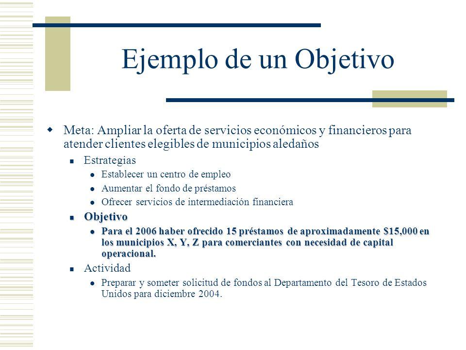Ejemplo de un Objetivo Meta: Ampliar la oferta de servicios económicos y financieros para atender clientes elegibles de municipios aledaños.