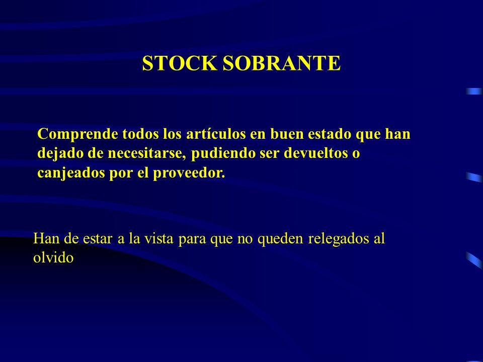 STOCK SOBRANTE Comprende todos los artículos en buen estado que han dejado de necesitarse, pudiendo ser devueltos o canjeados por el proveedor.