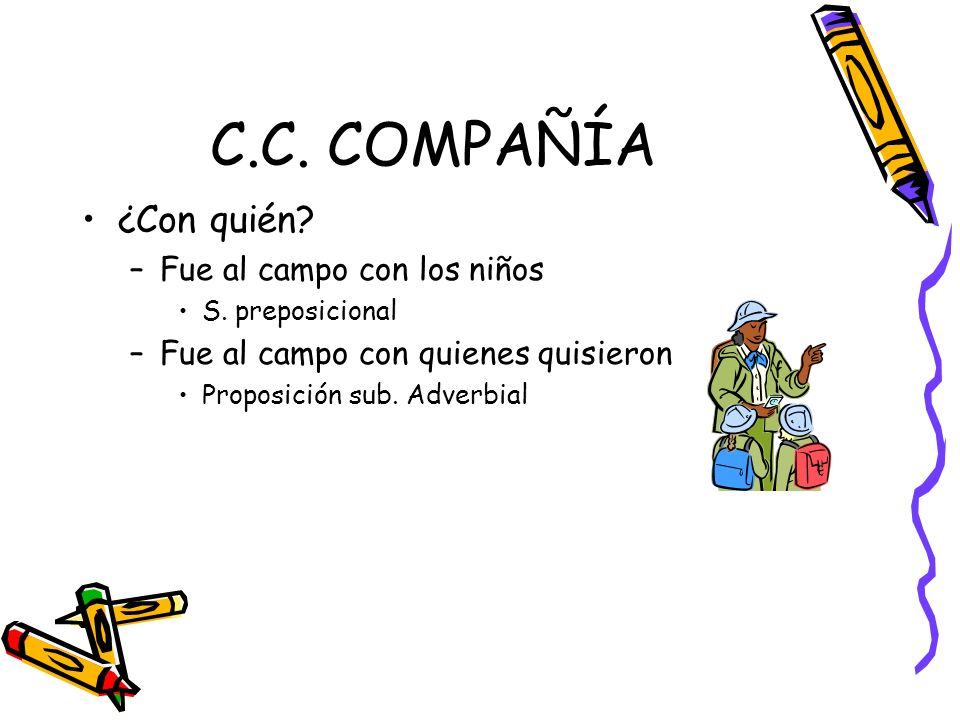 C.C. COMPAÑÍA ¿Con quién Fue al campo con los niños