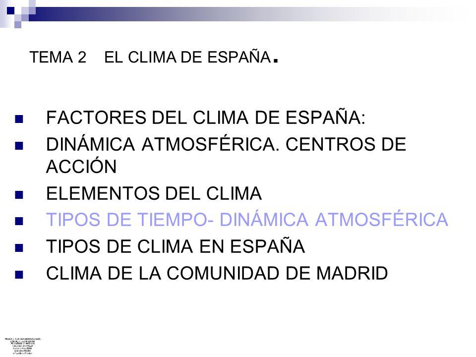FACTORES DEL CLIMA DE ESPAÑA: DINÁMICA ATMOSFÉRICA. CENTROS DE ACCIÓN
