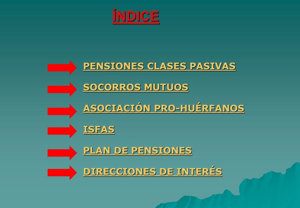 ÍNDICE PENSIONES CLASES PASIVAS SOCORROS MUTUOS