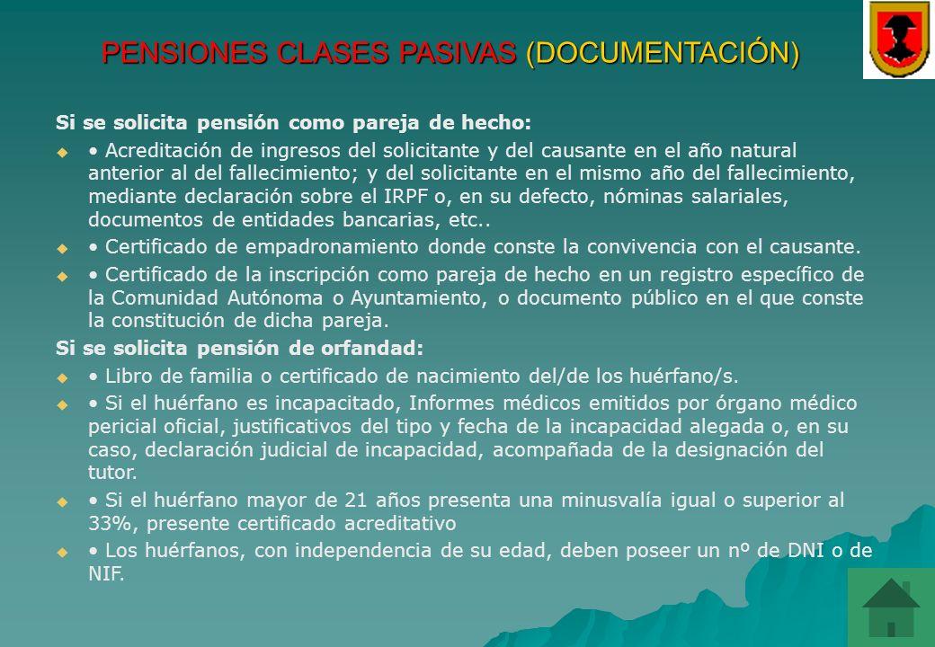 PENSIONES CLASES PASIVAS (DOCUMENTACIÓN)