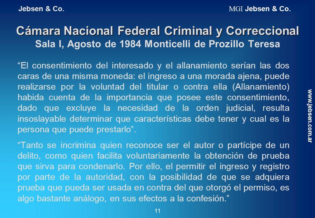 Jebsen & Co. MGI Jebsen & Co. Cámara Nacional Federal Criminal y Correccional Sala I, Agosto de 1984 Monticelli de Prozillo Teresa.