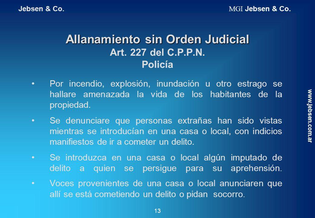 Allanamiento sin Orden Judicial Art. 227 del C.P.P.N. Policía
