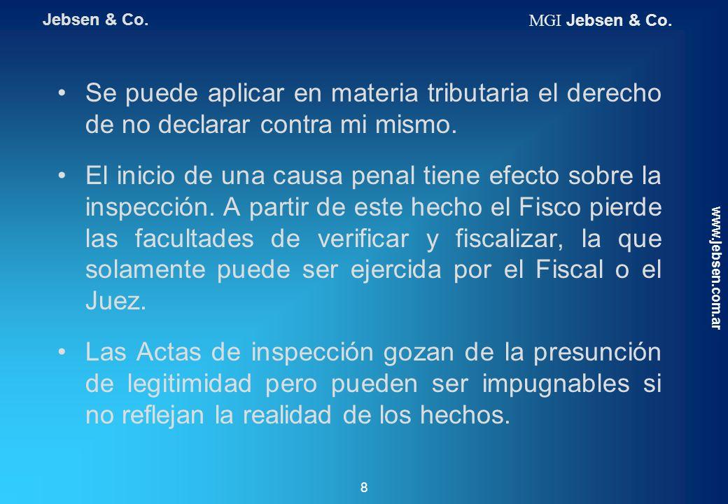 Jebsen & Co. MGI Jebsen & Co. Se puede aplicar en materia tributaria el derecho de no declarar contra mi mismo.