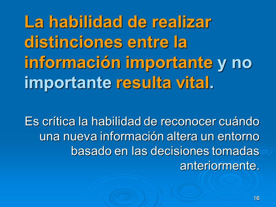 La habilidad de realizar distinciones entre la información importante y no importante resulta vital.