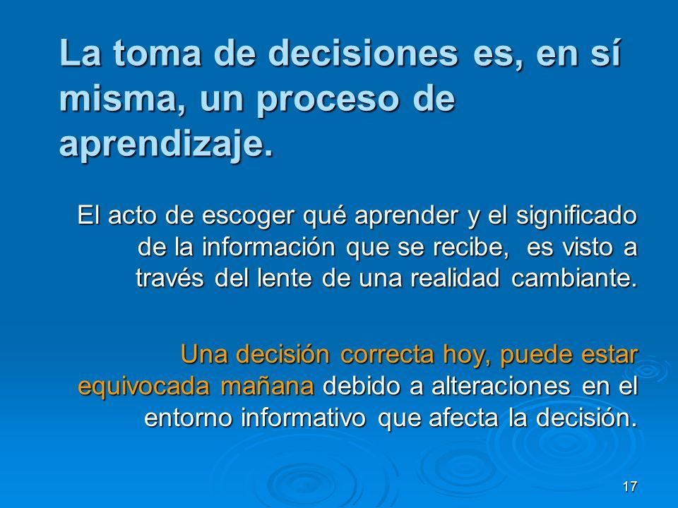 La toma de decisiones es, en sí misma, un proceso de aprendizaje.