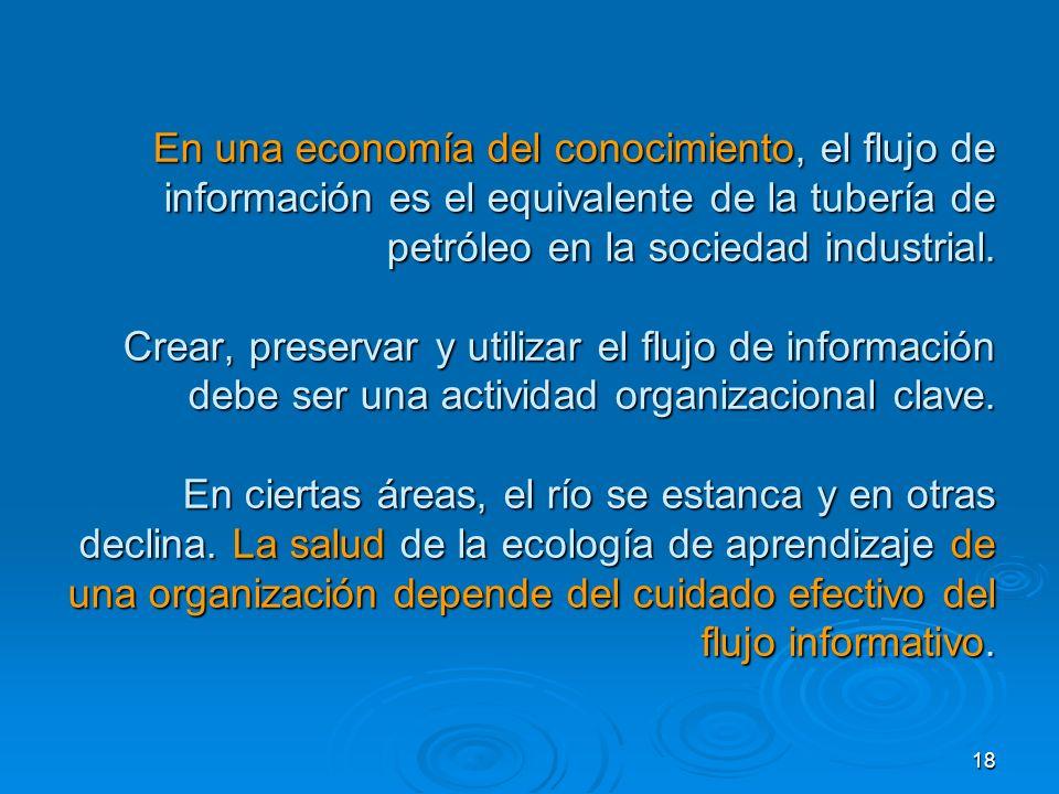 En una economía del conocimiento, el flujo de información es el equivalente de la tubería de petróleo en la sociedad industrial.