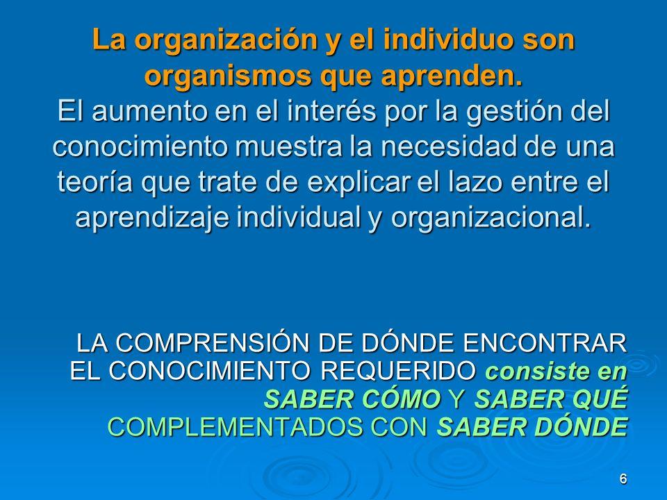 La organización y el individuo son organismos que aprenden