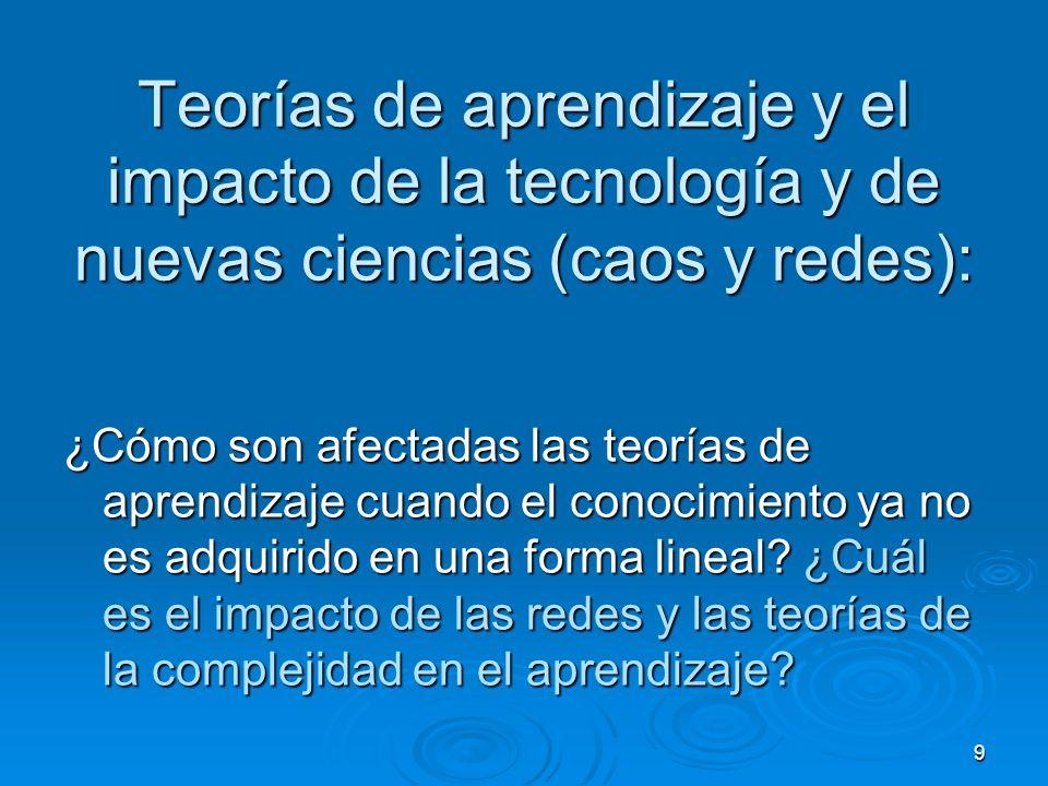 Teorías de aprendizaje y el impacto de la tecnología y de nuevas ciencias (caos y redes):
