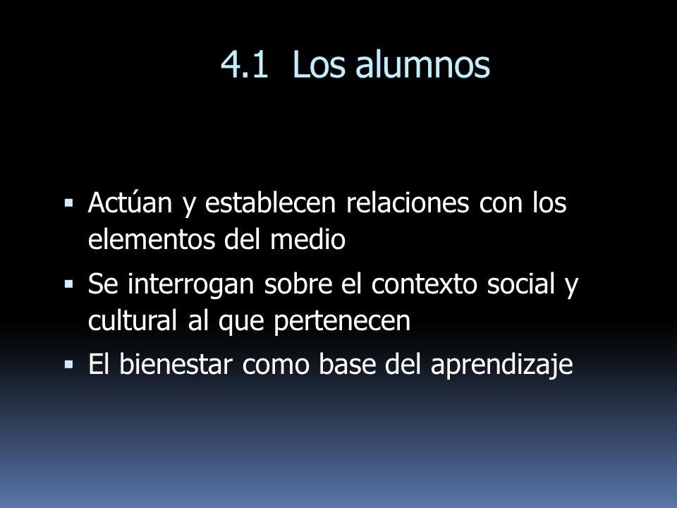 4.1 Los alumnos Actúan y establecen relaciones con los elementos del medio. Se interrogan sobre el contexto social y cultural al que pertenecen.