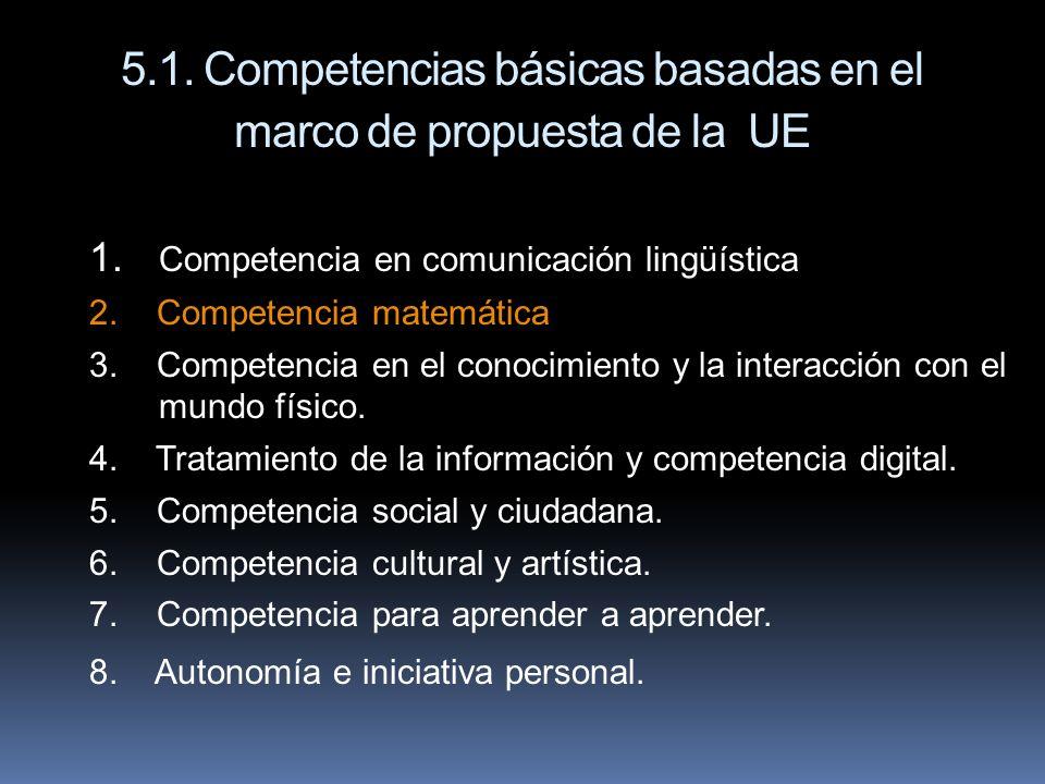 5.1. Competencias básicas basadas en el marco de propuesta de la UE