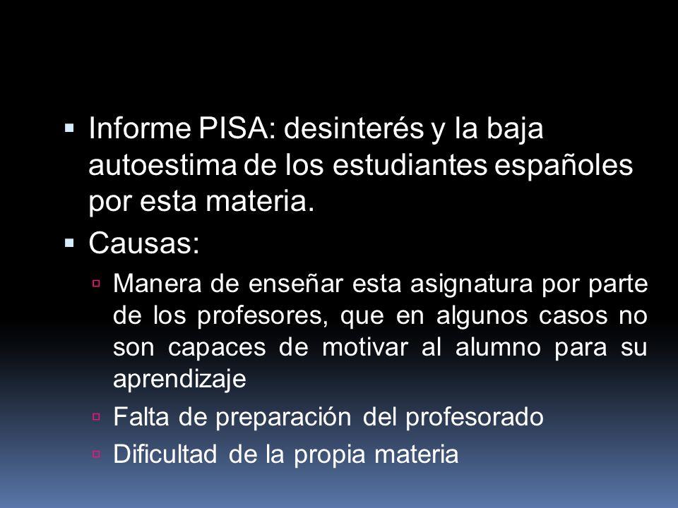 Informe PISA: desinterés y la baja autoestima de los estudiantes españoles por esta materia.