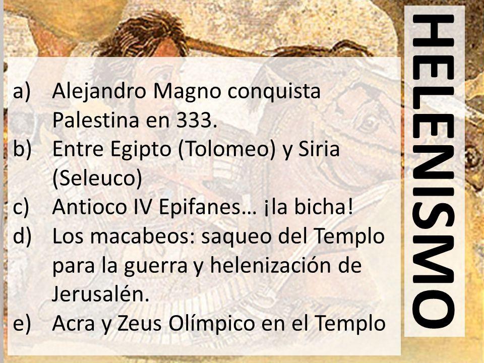 HELENISMO Alejandro Magno conquista Palestina en 333.