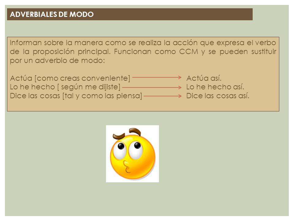 ADVERBIALES DE MODO