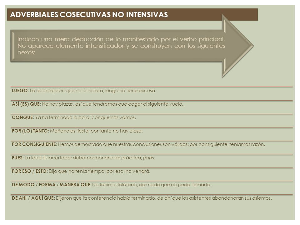 ADVERBIALES COSECUTIVAS NO INTENSIVAS