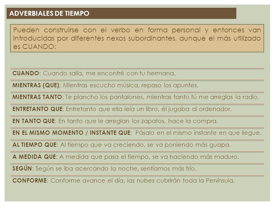 ADVERBIALES DE TIEMPO