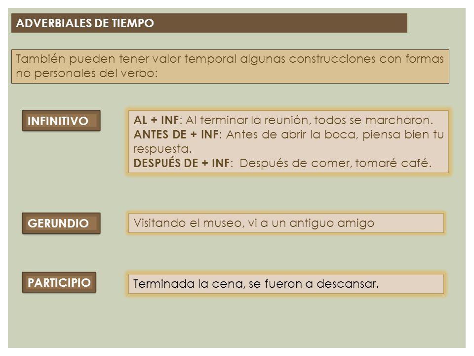 ADVERBIALES DE TIEMPO También pueden tener valor temporal algunas construcciones con formas no personales del verbo: