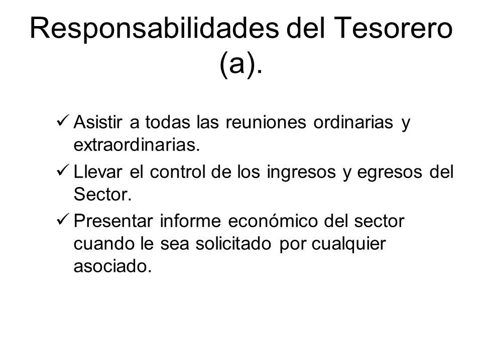 Responsabilidades del Tesorero (a).