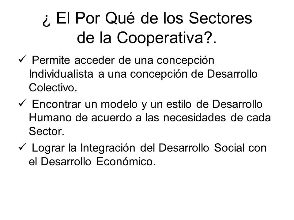 ¿ El Por Qué de los Sectores de la Cooperativa .