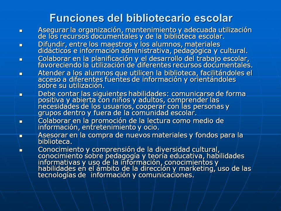 Funciones del bibliotecario escolar