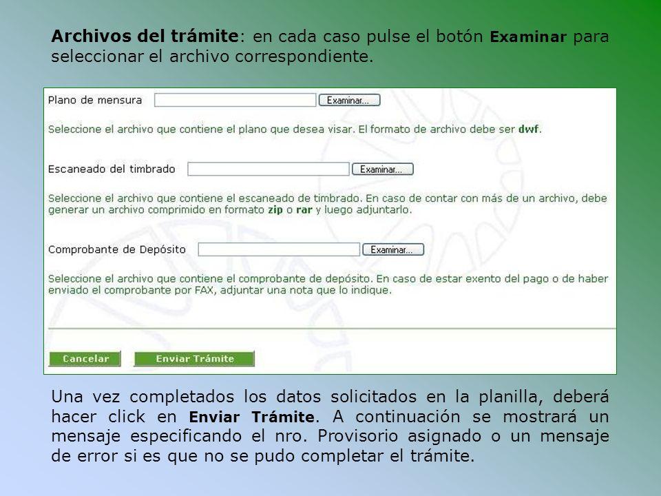 Archivos del trámite: en cada caso pulse el botón Examinar para seleccionar el archivo correspondiente.