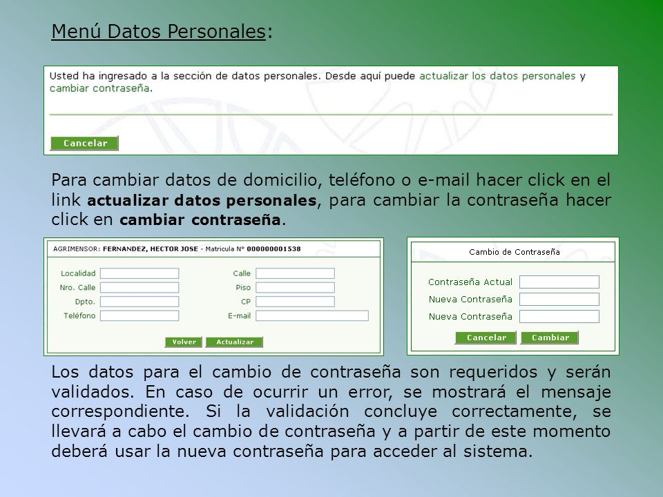 Menú Datos Personales:
