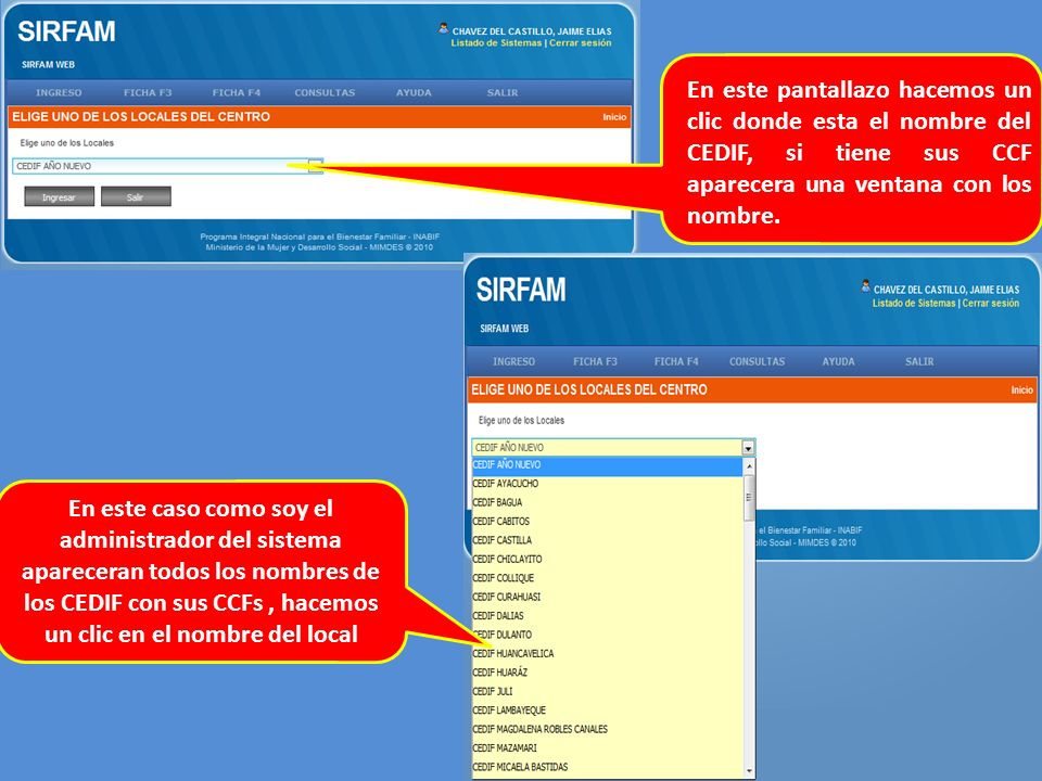 En este pantallazo hacemos un clic donde esta el nombre del CEDIF, si tiene sus CCF aparecera una ventana con los nombre.