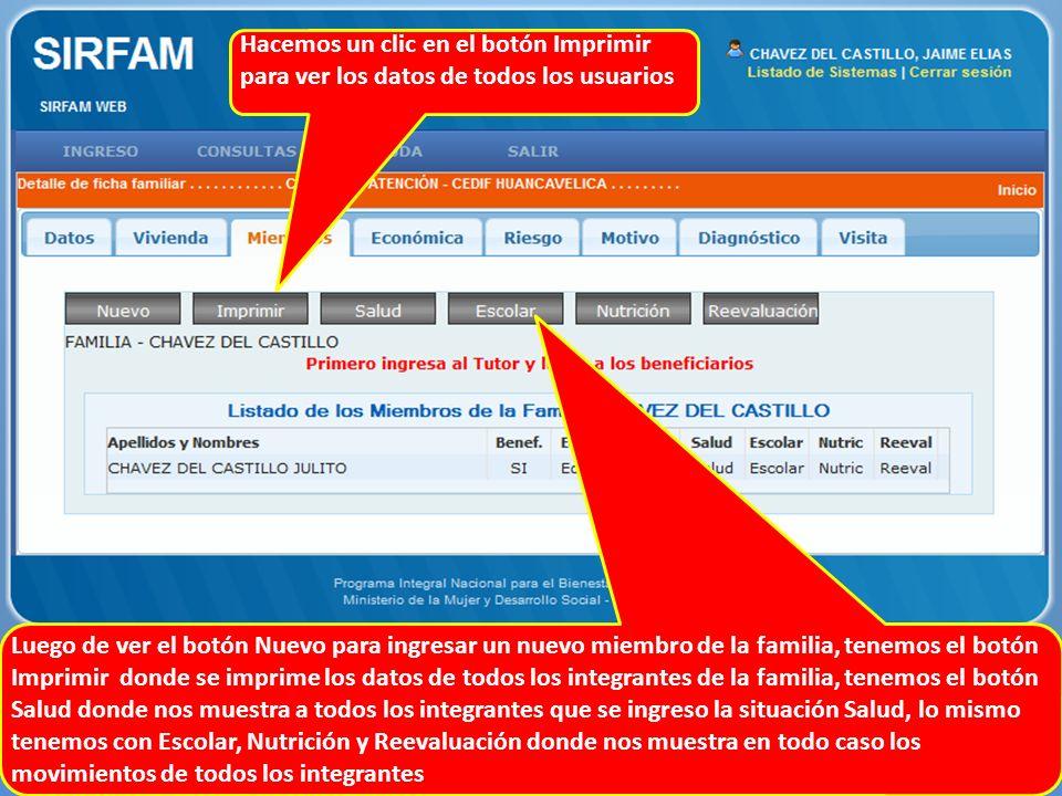 Hacemos un clic en el botón Imprimir para ver los datos de todos los usuarios