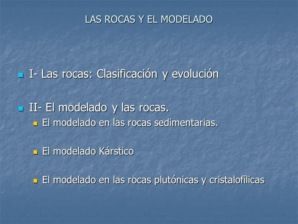 I- Las rocas: Clasificación y evolución II- El modelado y las rocas.