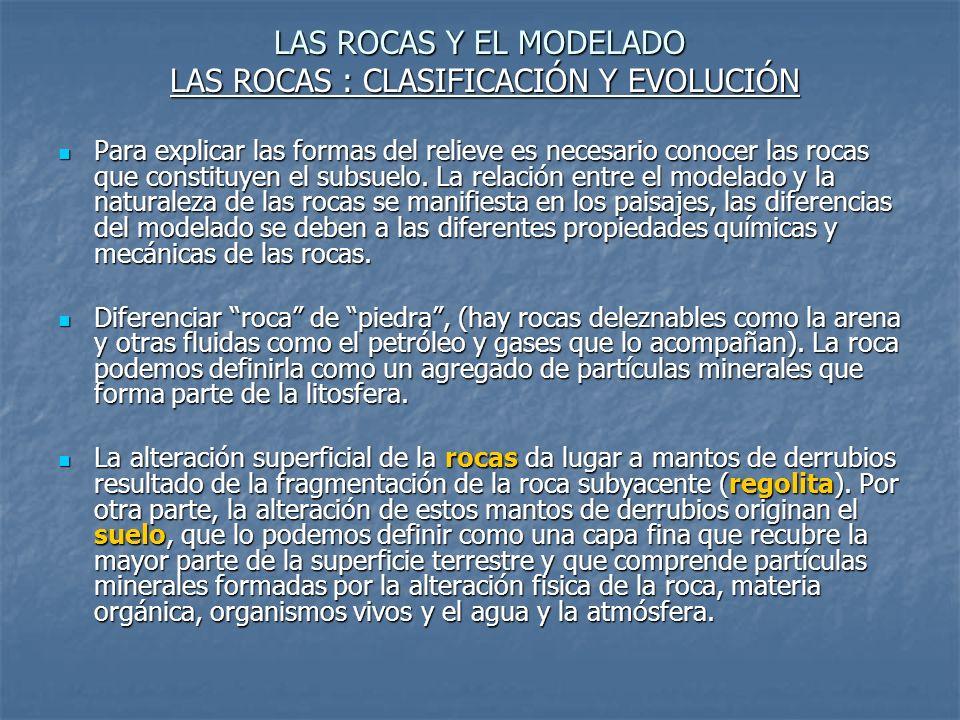 LAS ROCAS Y EL MODELADO LAS ROCAS : CLASIFICACIÓN Y EVOLUCIÓN