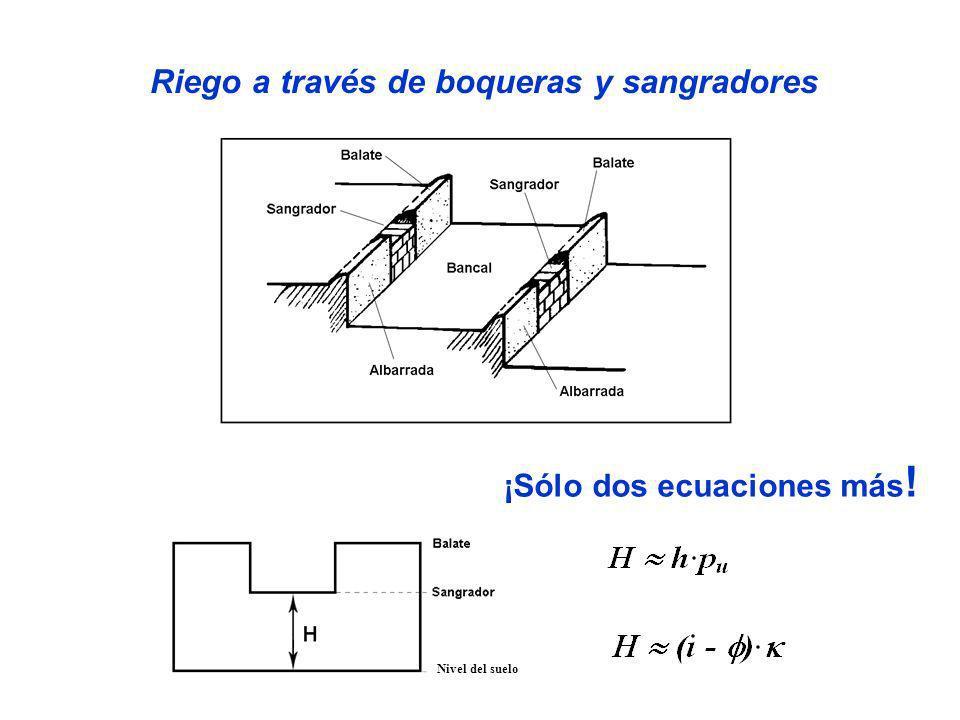 Riego a través de boqueras y sangradores ¡Sólo dos ecuaciones más!