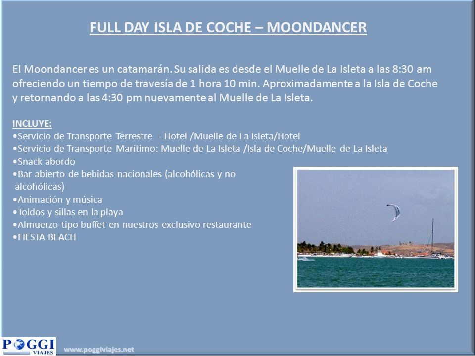 FULL DAY ISLA DE COCHE – MOONDANCER