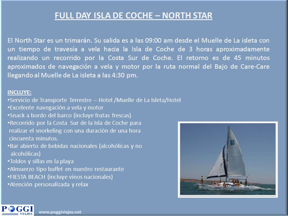 FULL DAY ISLA DE COCHE – NORTH STAR