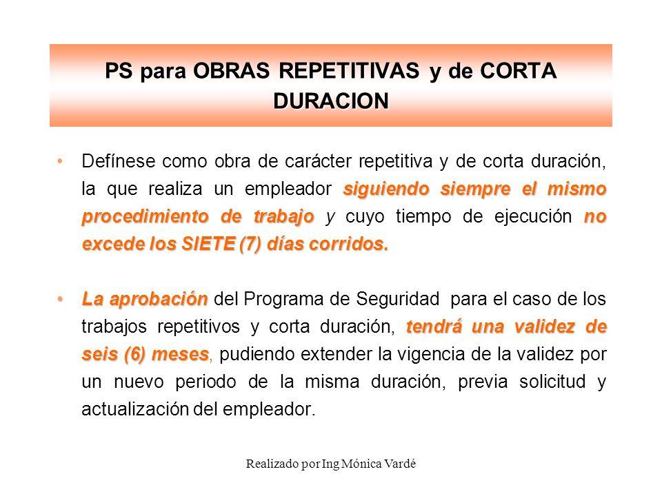 PS para OBRAS REPETITIVAS y de CORTA DURACION