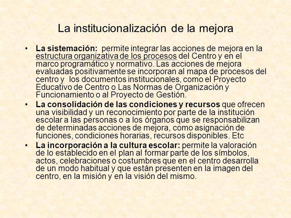 La institucionalización de la mejora