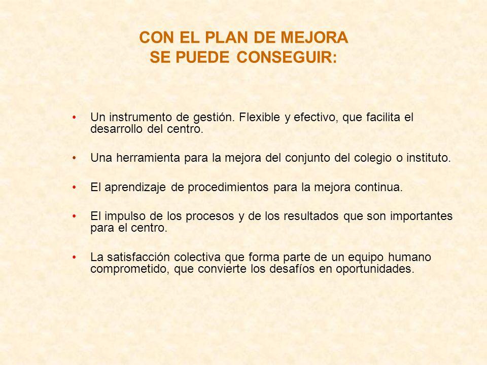 CON EL PLAN DE MEJORA SE PUEDE CONSEGUIR: