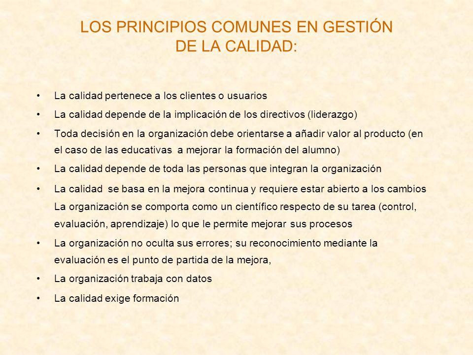 LOS PRINCIPIOS COMUNES EN GESTIÓN DE LA CALIDAD: